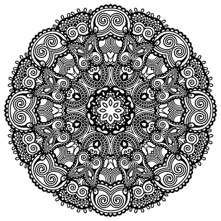 Circle lace ornament, round ornamental geometric doily pattern, black and white collection  イラスト・ベクター素材