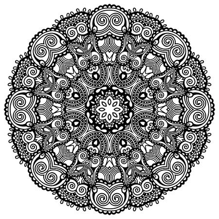 tribales: Círculo del ornamento cordón, modelo geométrico tapete ornamental redondo, colección blanco y negro Vectores