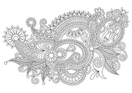 original hand draw line art ornate flower design. Ukrainian traditional style Vector