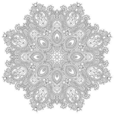 Circle lace ornament, round ornamental geometric doily pattern, black and white collection Stock Vector - 21960382