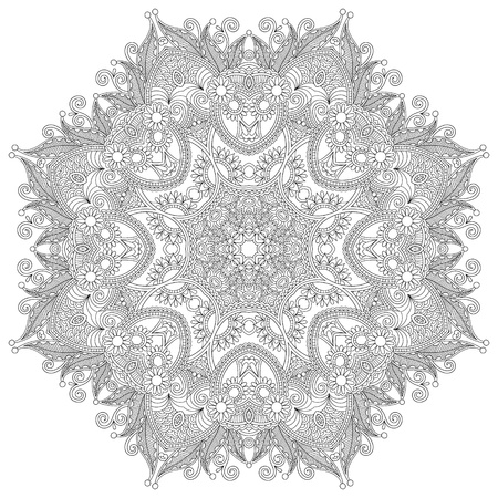 Circle lace ornament, round ornamental geometric doily pattern, black and white collection 일러스트