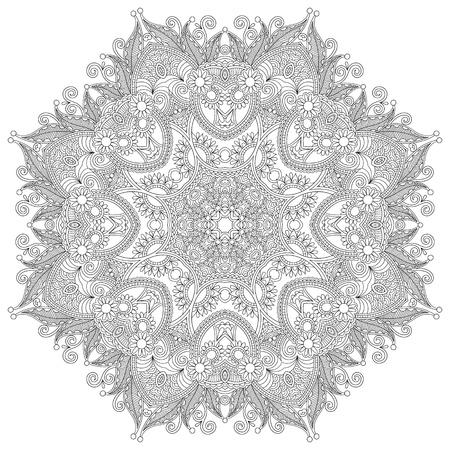 Circle lace ornament, round ornamental geometric doily pattern, black and white collection Çizim