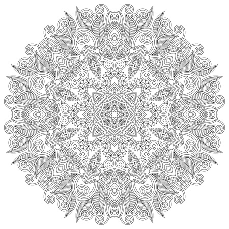 Circle lace ornament, round ornamental geometric doily pattern, black and white collection Stock Vector - 21960401