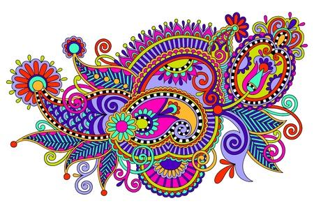 hindi: draw line art ornato di fiori di progettazione digitale originale. Stile tradizionale ucraina Vettoriali