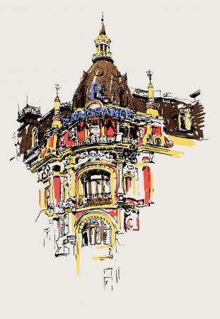 kiev: digital drawing of old historic house in kiev, ukraine