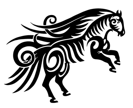 horsehair: digital drawing of black tribal horse silhouette isolated on white