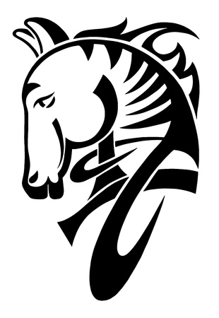 drawings image: digital drawing of black tribal head horse silhouette isolated on white