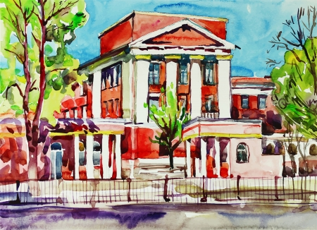 building sketch: original watercolor painting of kiev building, ukraine