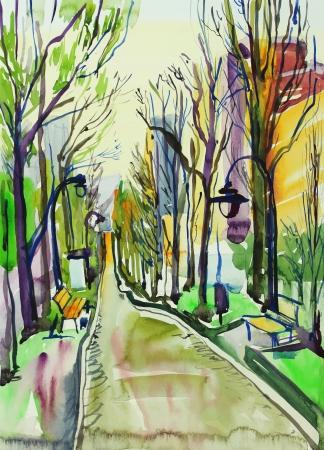 masterpiece: original watercolor painting of city park