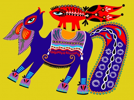 ukrainian tribal ethnic painting, unusual horse, folk illustration