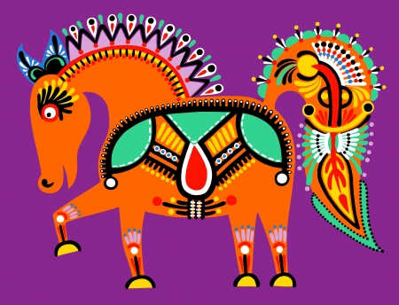 ウクライナの部族民族絵画、異常な馬、民俗図  イラスト・ベクター素材