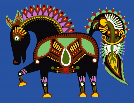 original ukrainian tribal animal painting, decorative horse Vector