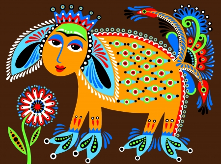 ukrainian tribal ethnic painting, unusual animal, folk illustration Vector