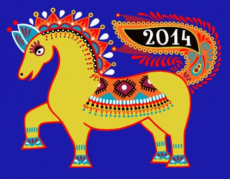 ukrainian tribal ethnic painting, unusual horse, folk illustration, symbol of 2014 new year