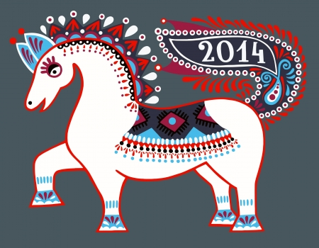 ukrainian tribal ethnic painting, unusual horse, folk illustration, symbol of 2014 new year Stock Vector - 22126496