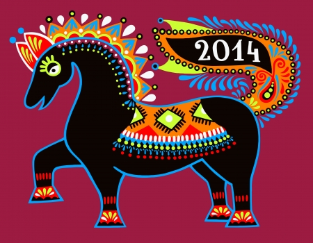 ukrainian tribal ethnic painting, unusual horse, folk illustration, symbol of 2014 new year Vector