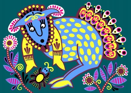 ukrainian tribal ethnic painting, unusual animal, folk illustration Illustration