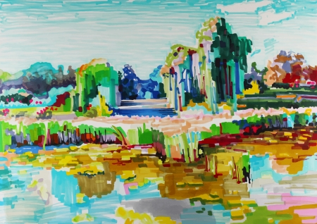fine art painting: marker painting of landscape