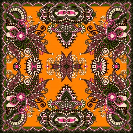Traditional ornamental floral paisley bandanna.   Vector