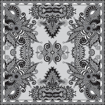grey ornamental floral paisley bandanna.   Vector