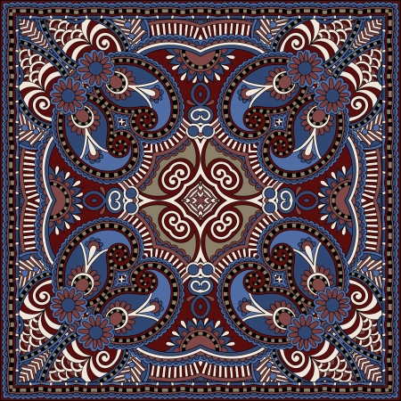 Traditional ornamental floral paisley bandanna. You can use this pattern in the design of carpet, shawl, pillow, cushion Stock Vector - 22567174