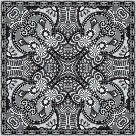 grey ornamental floral paisley bandanna. You can use this pattern in the design of carpet, shawl, pillow, cushion, black and white collection Vector