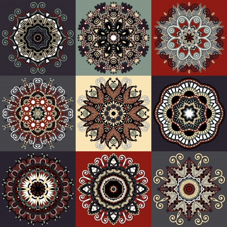 psychedelic background: Circle lace ornament, round ornamental geometric doily pattern collection
