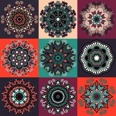 Circle lace ornament, round ornamental geometric doily pattern collection Stock Vector - 23069639