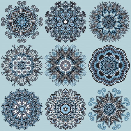 Circle lace ornament, round ornamental geometric doily pattern collection Stock Vector - 23069651
