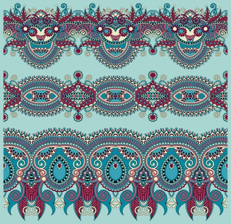collection of seamless ornamental floral stripes Illustration