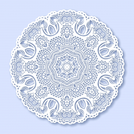 Circle lace ornament, round ornamental geometric doily pattern, christmas snowflake decoration Vector