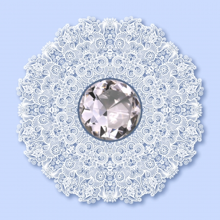 floral background with diamond jewel