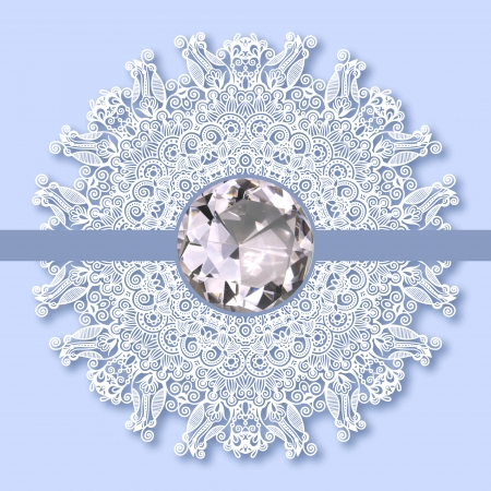 christmas snowflake decoration with diamond jewel Vector