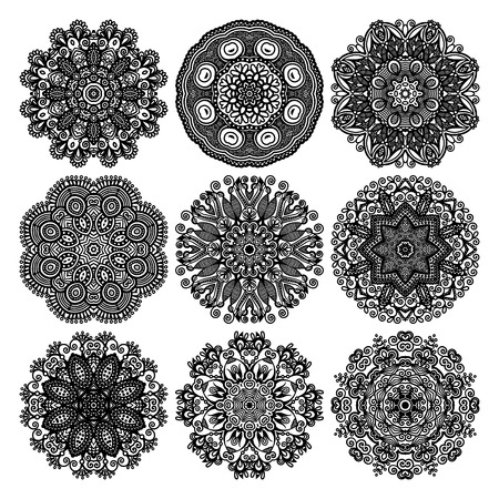 Circle lace ornament, round ornamental geometric doily pattern, black and white collection Stock Vector - 23166238