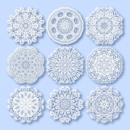 Circle lace ornament, round ornamental geometric doily pattern, christmas snowflake decoration Stock Vector - 23166239