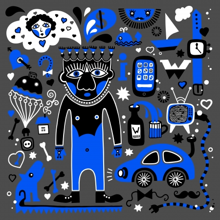 unusual decorative pattern of masculine dreams, - car, television, woman, whisky, clock, telephone, yacht, travel, internet and others Vector
