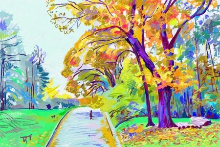 ursprüngliche digitale Malerei der Herbst Landschaft, Vektor-Version, autotrace Bild