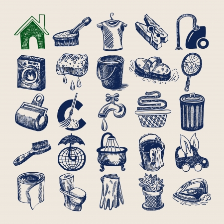 toilet brush: 25 hand drawing doodle icon set, cleaning and hygiene service