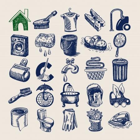 seau d eau: Service de 25 dessin � la main doodle jeu d'ic�nes, de nettoyage et d'hygi�ne Illustration