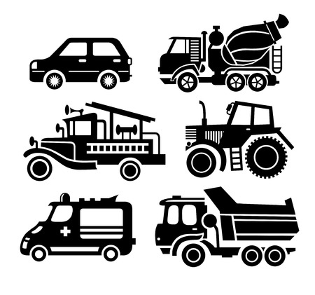 concrete mixer: car icon, black transportation vector set, - passenger car, concrete mixer car, fire truck, tractor, ambulance, truck
