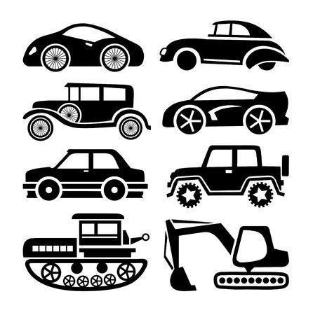 car icon, black transport vector set Vector