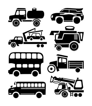 camion grua: coche icono, conjunto de vectores de transporte negro