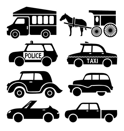car icons set, black auto pictogram collection Vector