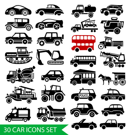 30 car icons set, black auto web pictogram collection Vector