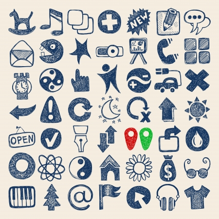 49 hand drawing doodle web icons collection Vector