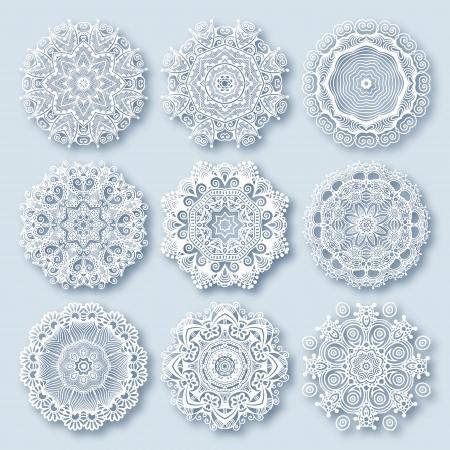 サークル レース飾り, 装飾的な幾何学的なドイリーのパターン、クリスマスの雪の結晶の装飾ラウンド
