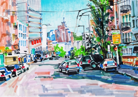 building color: marker painting of cityscape Illustration
