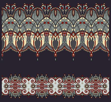 streak: collection of seamless ornamental floral stripes Illustration