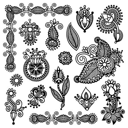 hindi: black line art ornate flower design collection, ukrainian ethnic style, autotrace of digital drawing Illustration