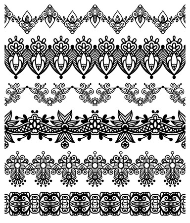 strap: collection of seamless ornamental floral stripes, black and white collection